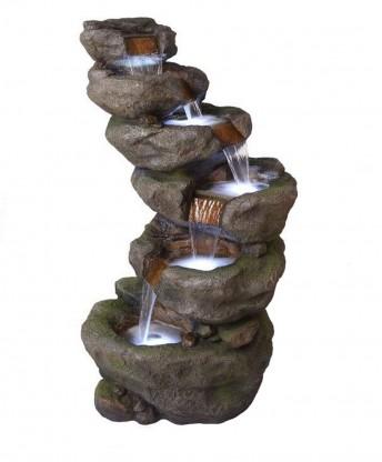 Unika Fontän rock vattenfall typ med led-lampor och pump för trädgård SR-85
